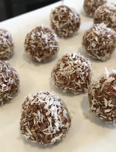 Paleo-friendly, organic, Dark Chocolate Coconut Bites, Karen Porter