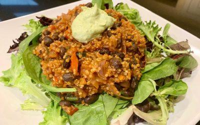 Quinoa Black Bean Taco Filling with Creamy Avocado Sauce