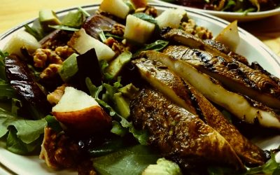 Grilled Portobello, Pear and Toasted Walnut Salad