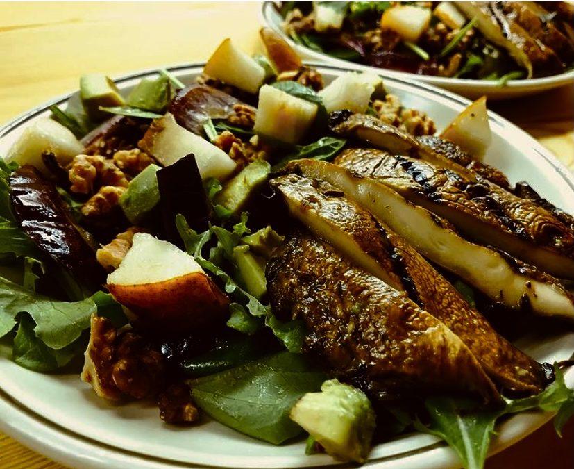 Grilled Portobello, Pear and Toasted Walnut Salad
