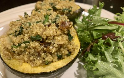 Stuffed Roasted Acorn Squash with Moroccan Spiced Quinoa
