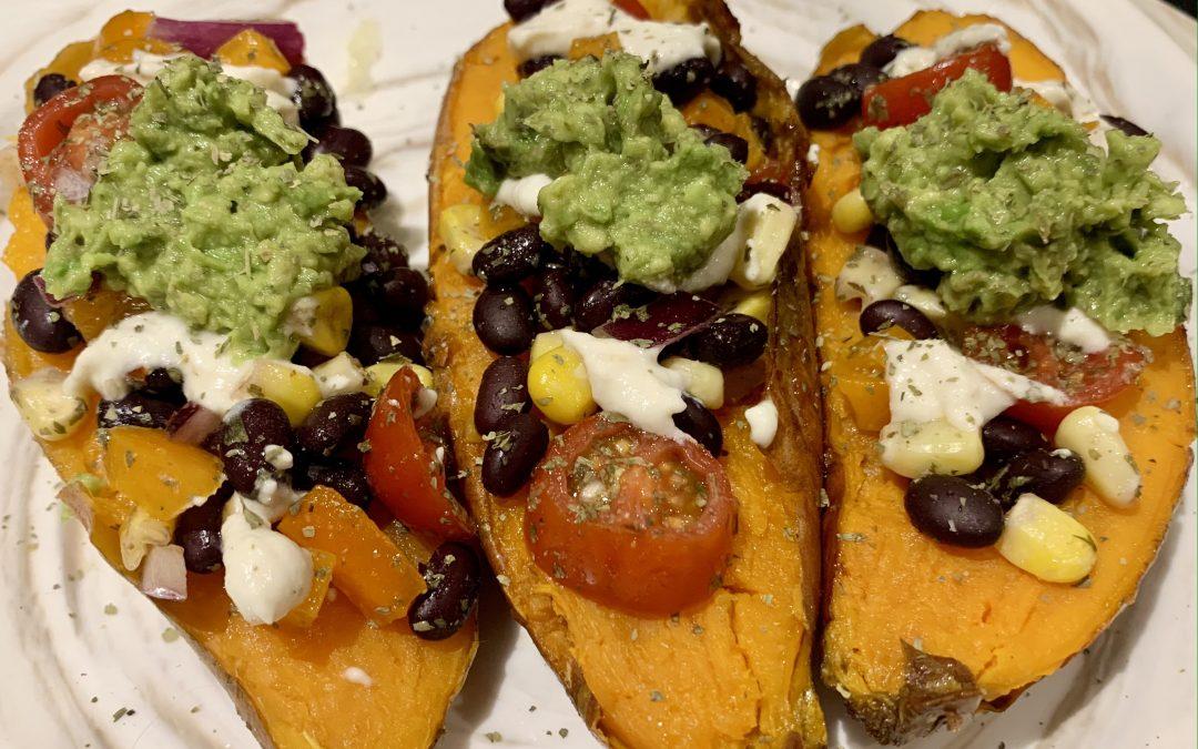 Mexican Black Bean Stuffed Sweet Potatoes